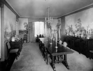 A view of the dining room. Note the scenic wallper on all 3 walls. It is unknown the extent of the mold damage at this time.