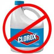 Clorox bottle with a red sign meaning don't use on mold