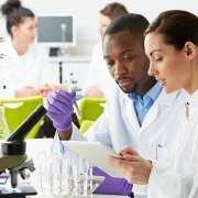 Lab setting with lab techs working in Laboratory