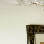 house wall and ceiling damaged by flood causing mold