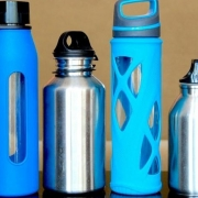 Image of 4 plastic and metal water bottles