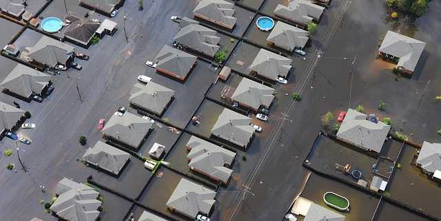 flooded homes after hurricane flood